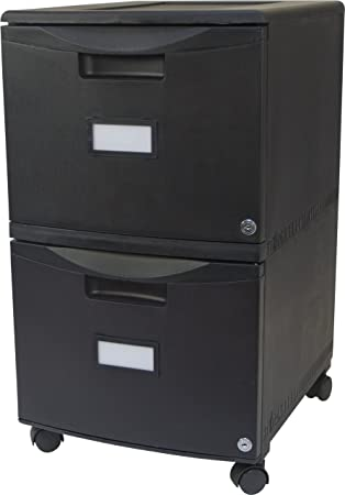 Amazon.com : Storex 18 Inch Wheeled Two Drawer Locking Filing Cabinet,  Black (61309) : Storage File Boxes : Office Products