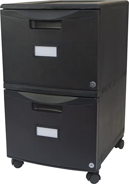 Storex 18 Inch Wheeled Two Drawer Locking Filing Cabinet, Black (61309)