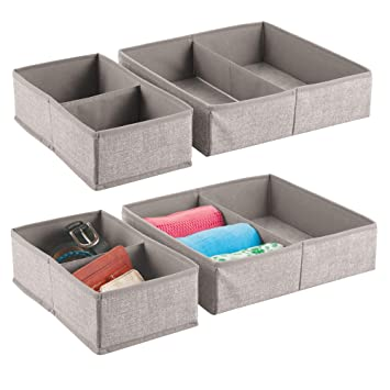 mDesign Juego de 4 organizadores de armarios y cajones – Las cajas de almacenaje perfectas para