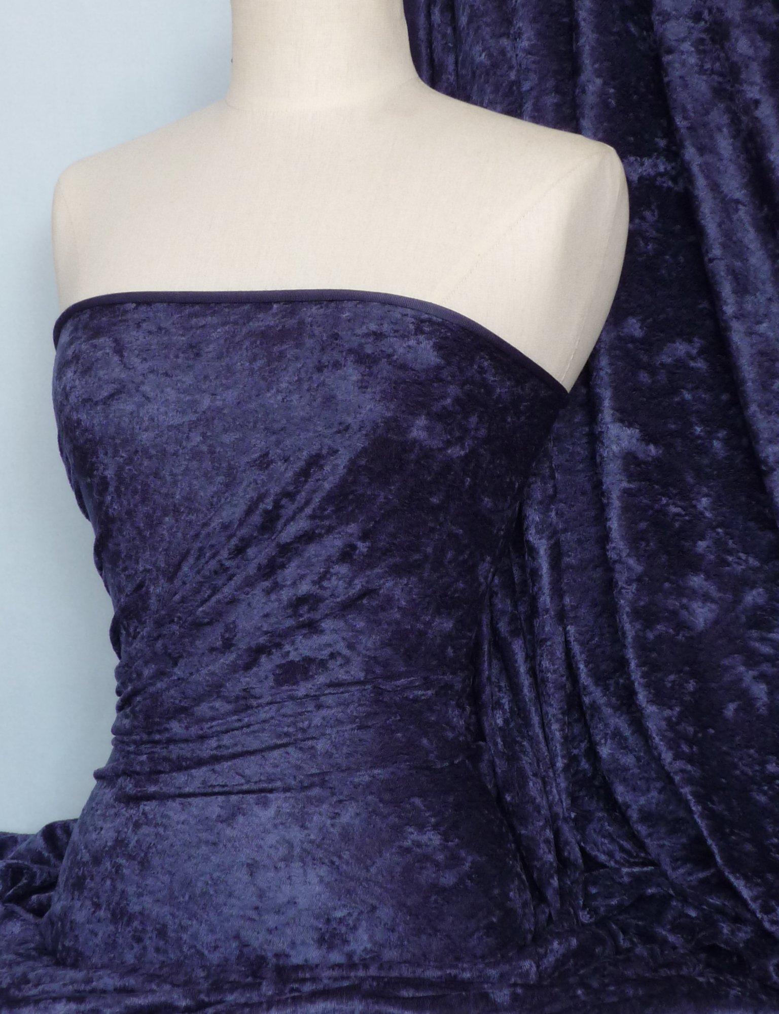 "White Premium Crushed Velvet Fabric Craft Dress Stretch Material 150cm 59/"" Wide"