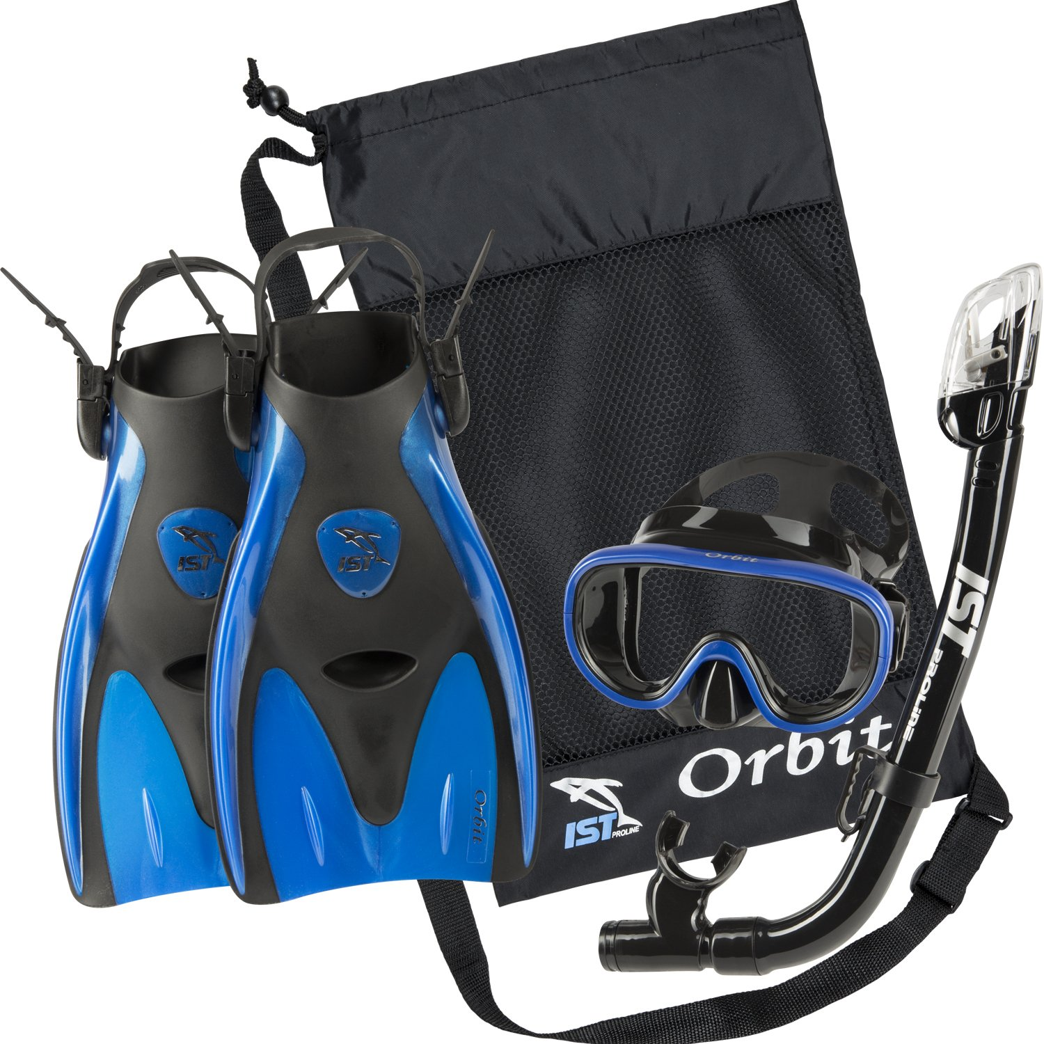 IST Orbit Snorkeling Gear Set: Tempered Glass Mask, Dry Top Snorkel & Trek Fins for Compact Travel (Black Silicone/Blue, Small)