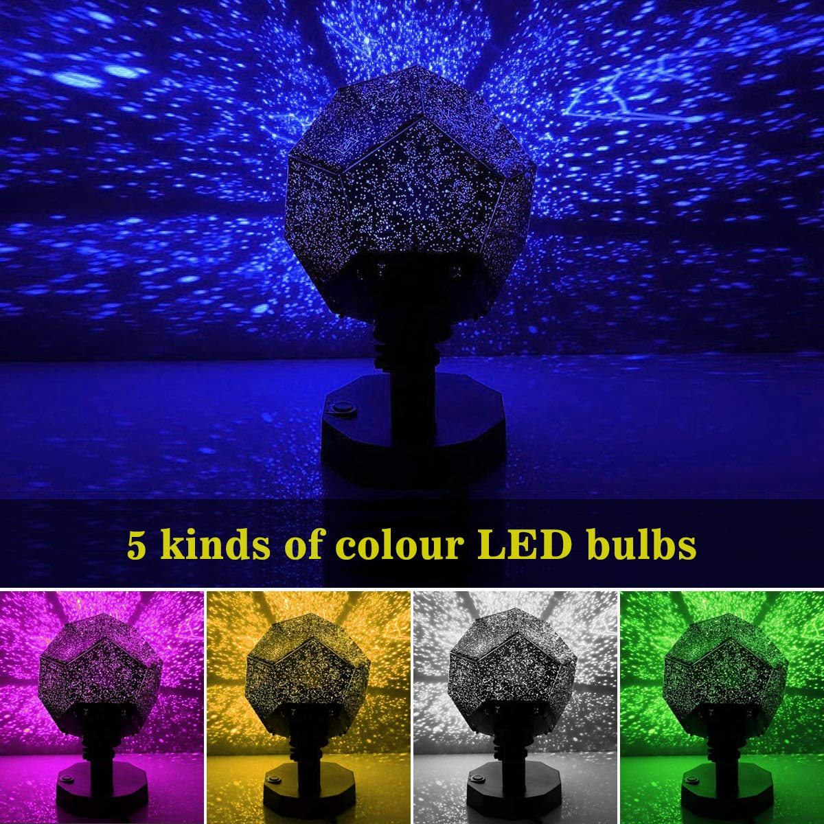Sunnec Star Projector, Rotation DIY Star Projection Night Light with 5 Light Colors for Wedding,Birthday,Parties,Kids Bedroom