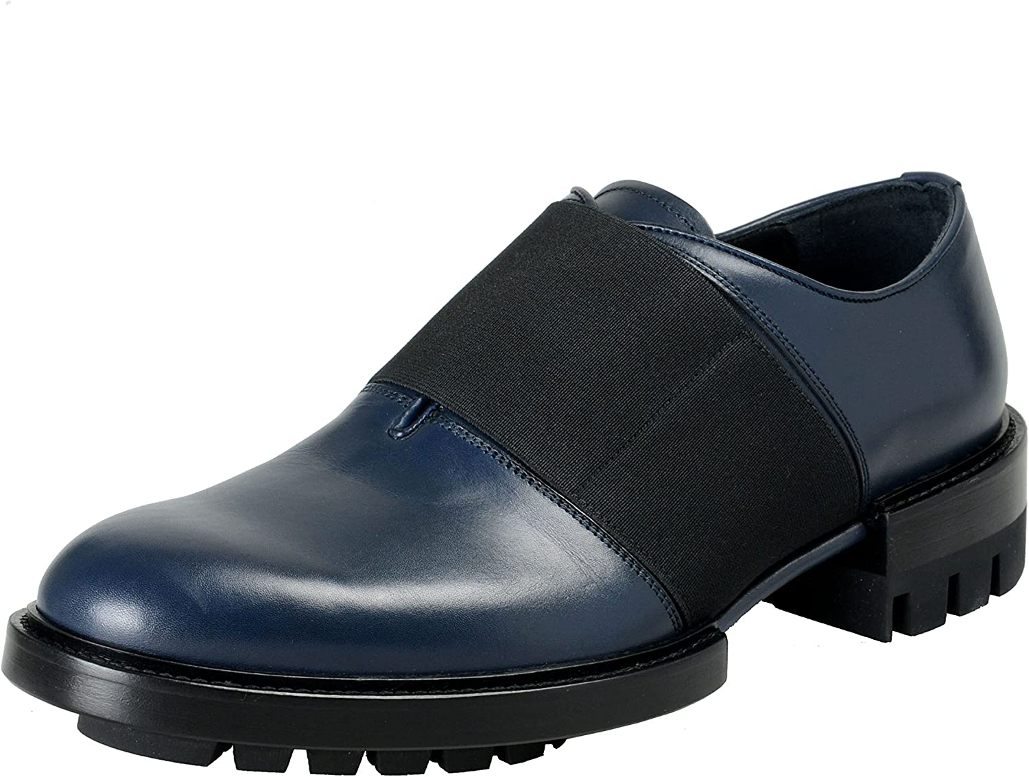 Navy Blue Leather Loafers Slip