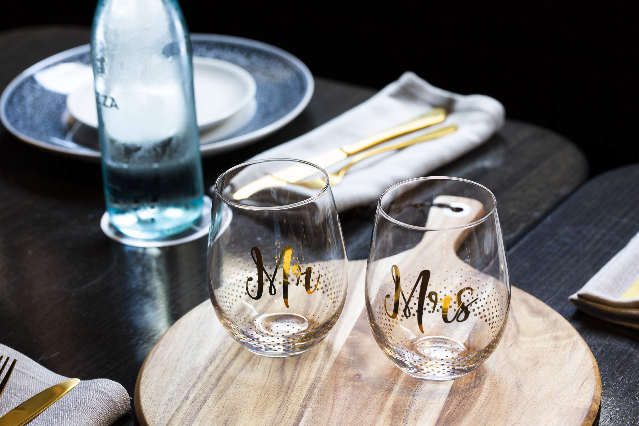 Mr & Mrs Gifts, set of 2 Crystal stemless wine glasses, with beautiful gift box, Perfect Engagement Gift, Wedding gift, Anniversary or Couples gift. by Verre Esprit (Image #2)
