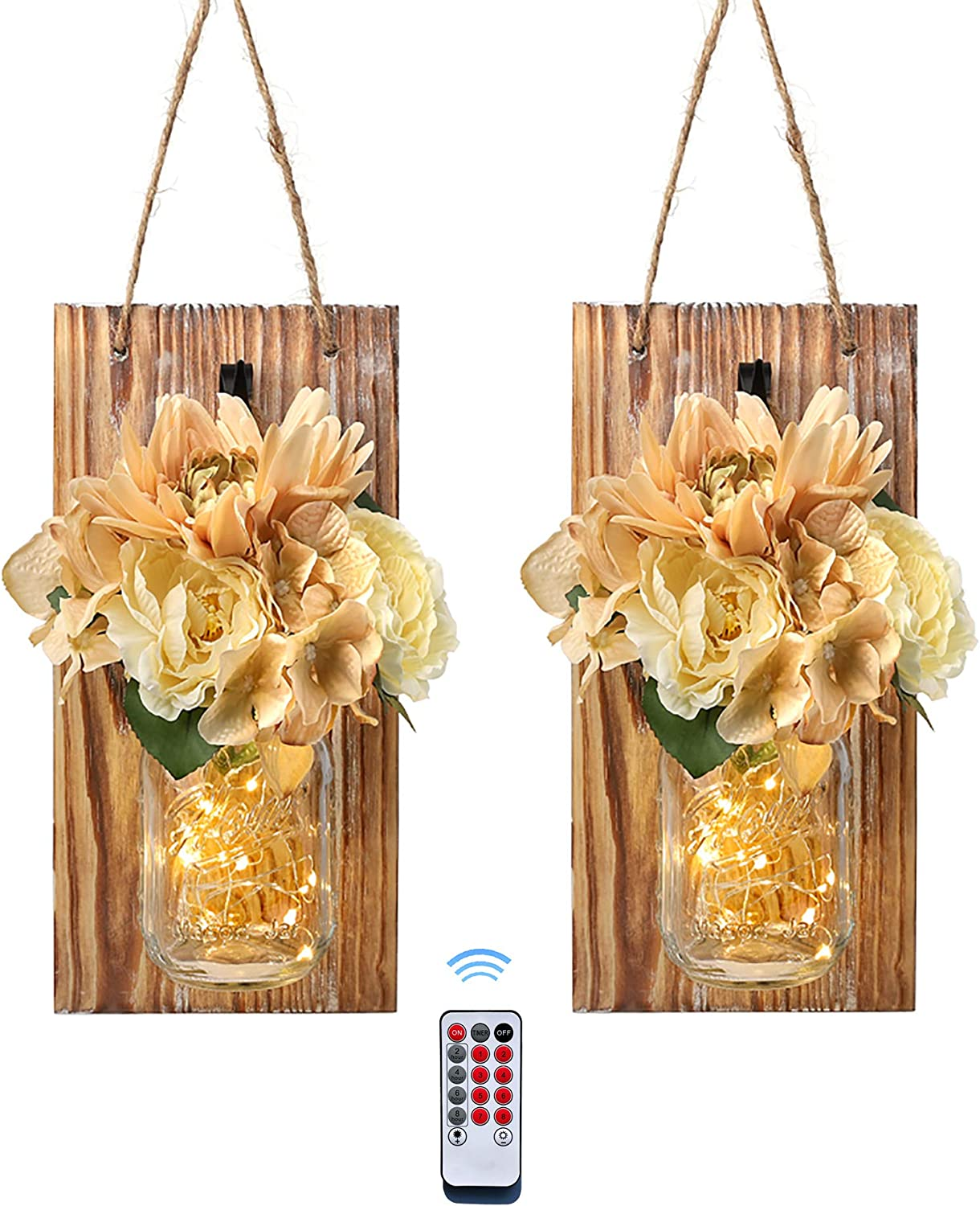 Besuerte Mason Jar Decor Wall Hanging with Remote Country Farmhouse Style Wall Decorfor Home Living Room with 6-Hour Timer Fairy String Lights &Flowers,Set of 2(Large, Brown)