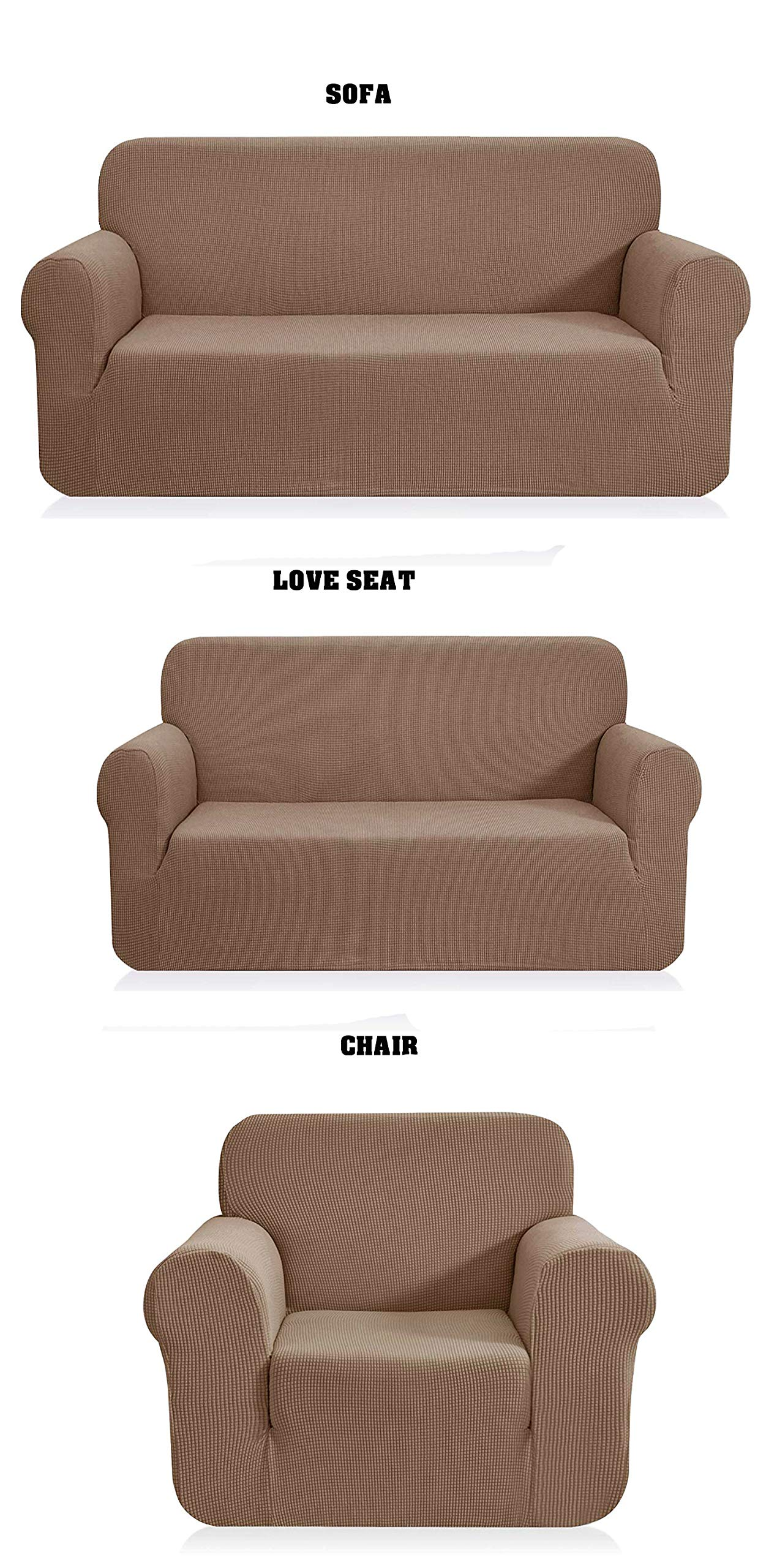 Fancy Linen LLC 3pc Set Sofa + Love Seat + Chair Slipcover Solid Elastic Spandex Stretch to Fit New (Light Brown, Sofa+Love-Seat+Chair) by Fancy