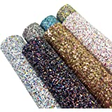 """Super Shiny Glitter Stereoscopic Sequins Fabric 7 pcs 8"""" x 13"""" (20cm x 34cm) Thick Canvas Back Craft DIY Craft Assorted Colours (Mixed Color)"""