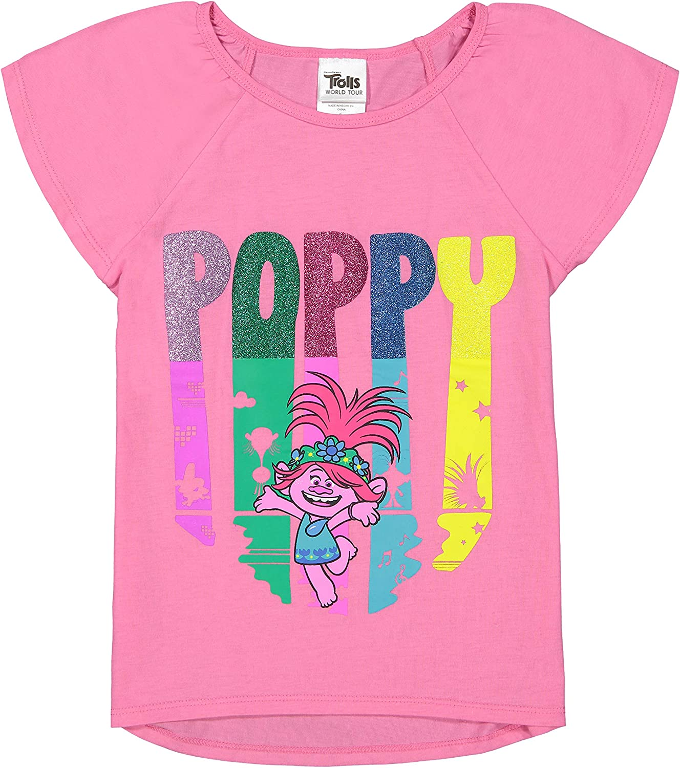 Trolls Poppy Girls 4 Piece Mix N Match T-Shirt Shorts and Leggings Set