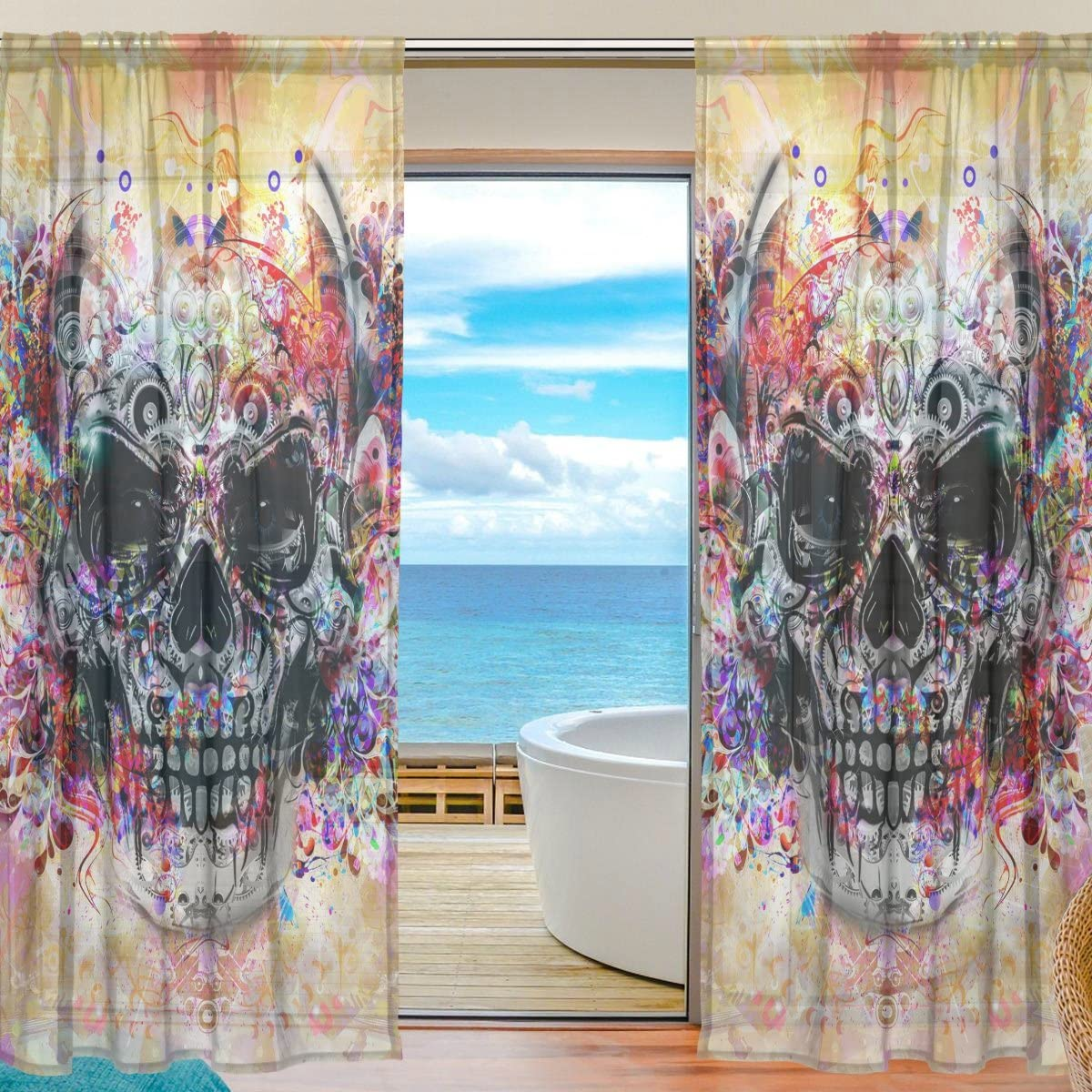 SAVSV Window Sheer Curtains Panels Voile Drapes Morden Colorful Watercolor Skull 55 W x 84 L 2 Panels Great For Living Room Bedroom Girl s Room
