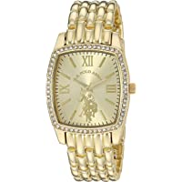 U.S. Polo Assn. Women's Stainless Steel Quartz Watch with Alloy Strap, Gold, 18 (Model: USC40234