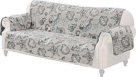 Madrid Beach Print Fabric Sofa Protector With Elastic Strap Amazon Ca Home Kitchen