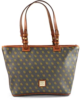 08fc19ca61 Dooney   Bourke DB Signature Small Leisure Shopper Tote Purse Shoulder Bag  Leather Trim Handles