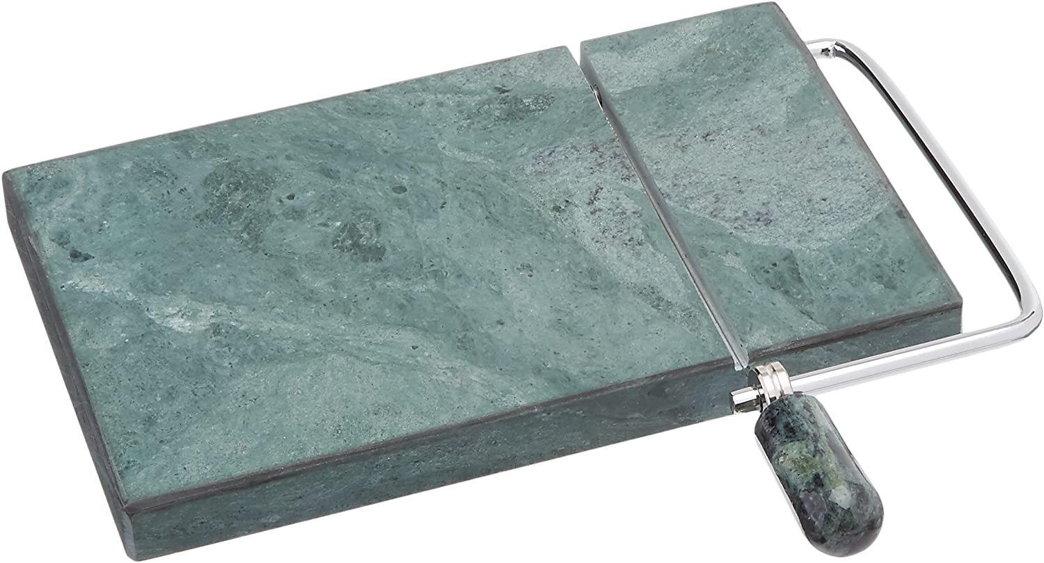 """Creative Home Natural Green Marble Stone Slicer Cheese, Butter Cutter with Replacement Wire, 5"""" L x 8"""" W"""
