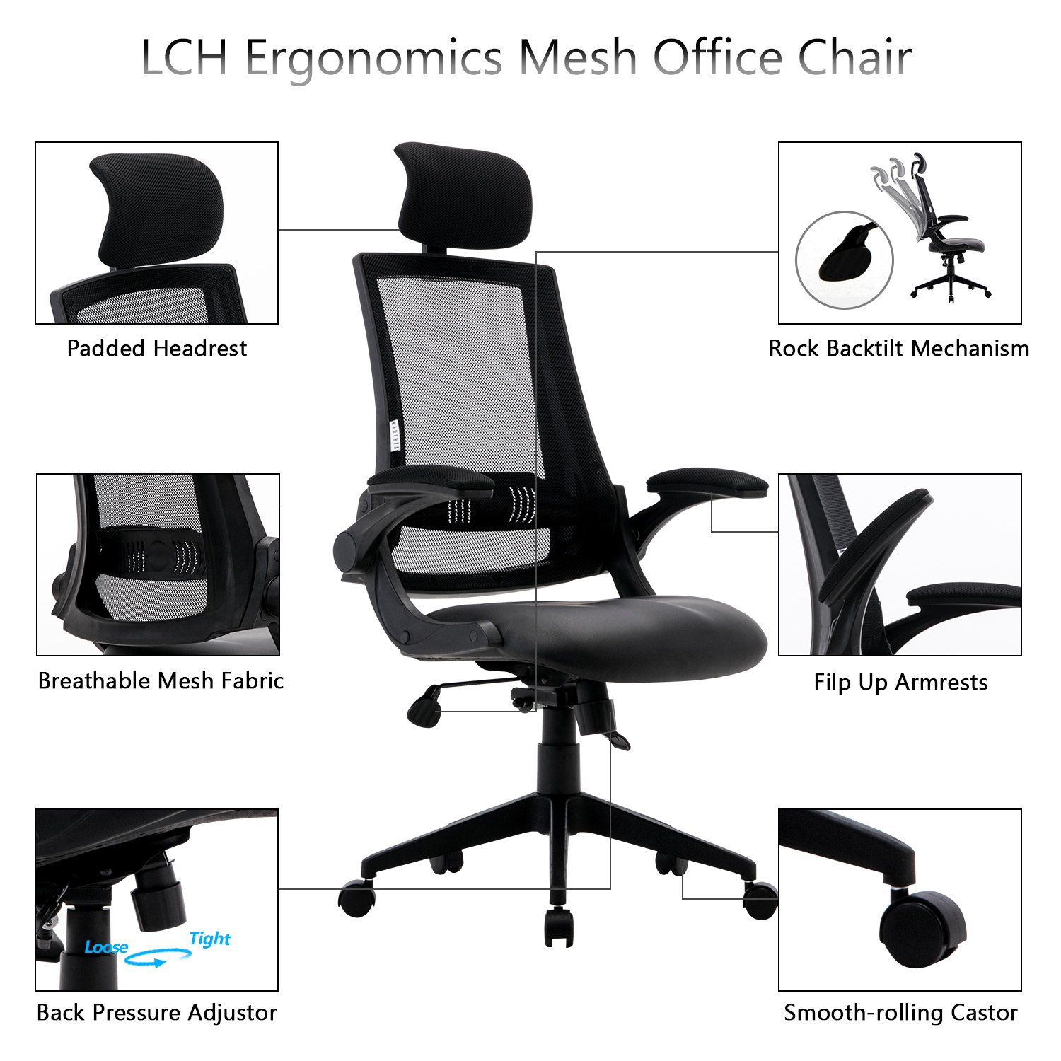 LCH Ergonomic Mesh Office Chair with Leather Seat, High Back,Flip-up Armrests,90 – 110 Tilt Lock,Adjustable Back Lumbar Support Computer Desk Task Executive Swivel Chair