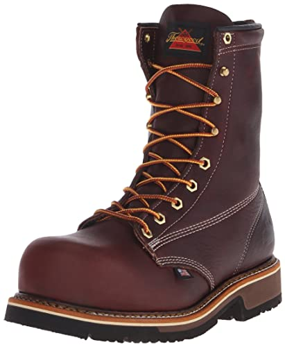 Thorogood Mens American Heritage 8 Inch Safety Toe Work Boot Black Walnut