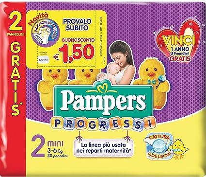 Pampers - Progressi - 120 pañales de bebé de talla 2, pañal talla mini,