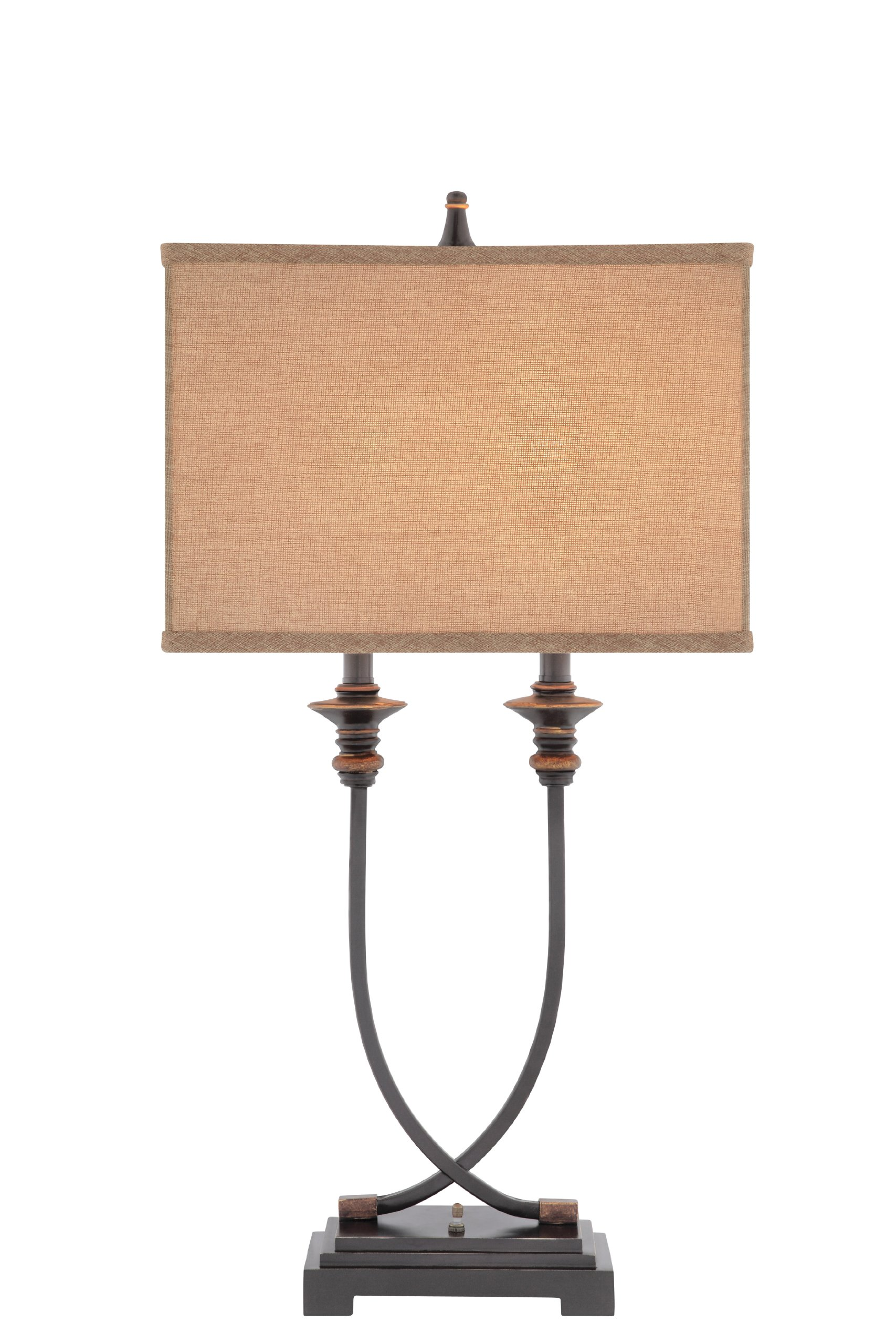 Catalina 19090-000 31.5-Inch Metal and Resin Table Lamp with Oil-Rubbed Bronze Finish and Linen Softback Shade