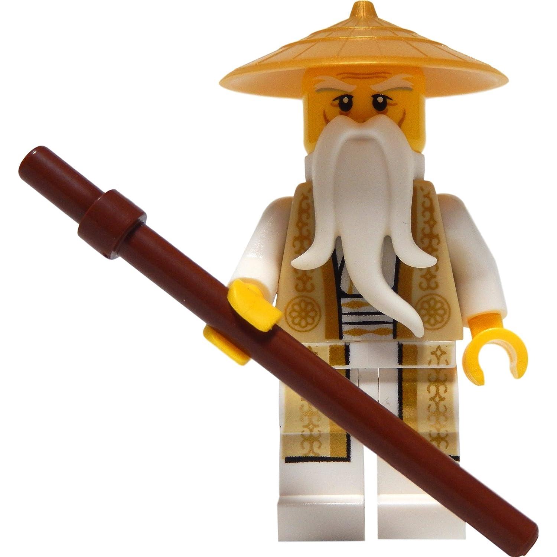 amazon com lego ninjago minifigure sensei wu tan and gold outfit