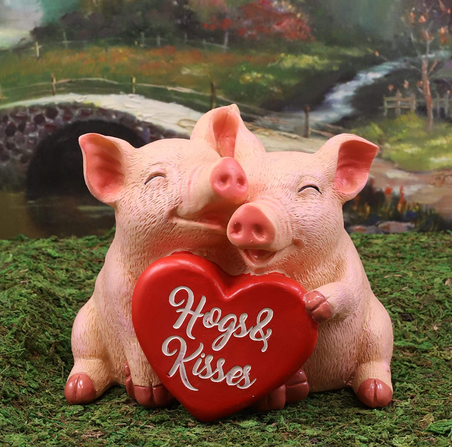 Amazon Com Ebros Whimsical Valentine S Day Lovely Pig Couple Holding Hogs And Kisses Heart Sign Statue 5 Long Rustic Country Romantic Piggy Pet Porcine Pigs Collectible Figurine Home Kitchen