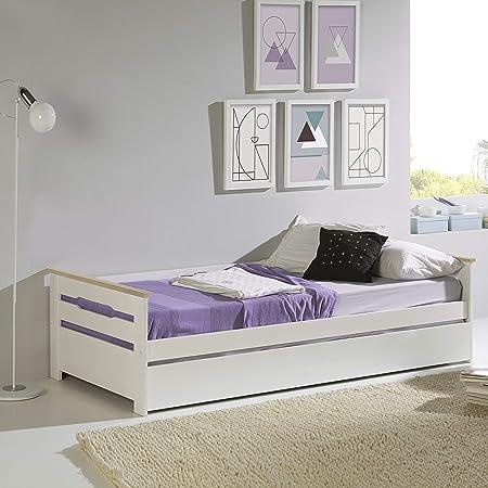 VS Venta-stock Cama Nido Juvenil Claudia 90X190, Color Blanco, Dimensiones: 200cm (Largo), 105cm (Ancho) y 62cm (Alto)
