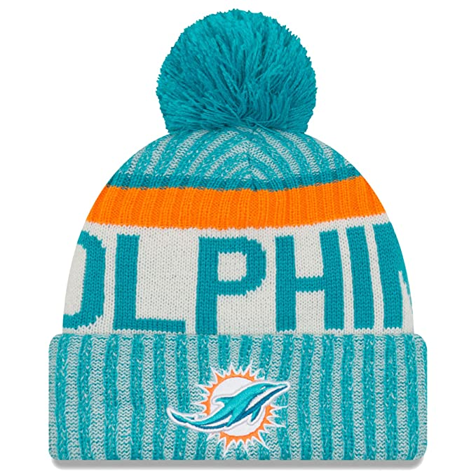 factory price 70a17 9fd64 Amazon.com  New Era Men s Men s Dolphins 2017 Sideline Official Sport Knit  Hat Aqua Size One Size  Sports   Outdoors