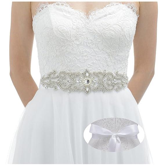 SWEETV Boda Vestido Faja Cintura Cinturón Cinta de Raso de Brillantes Diamantes de Imitación de Novia para Mujer, Blanco: Amazon.es: Ropa y accesorios