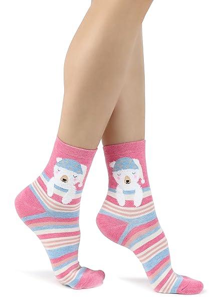 Calcetines a rayas rosas para mujer con Lindo oso durmiente: Amazon.es: Ropa y accesorios