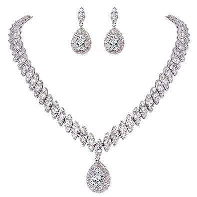 TENYE Women's Full CZ Marquise Shaped leaf Teardrop Necklace Earrings Bracelet Set Clear Silver-Tone tiIs9jl
