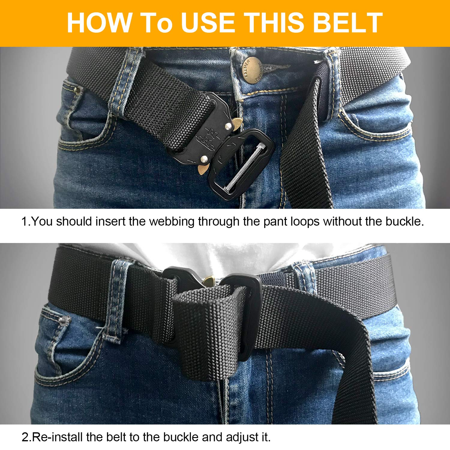 Senwow 2 Pack Mens Tactical Nylon Canvas Belt, Military Heavy Duty Waist Belts with Quick Release Buckle, Length 49.21inch, Width 1.65inch