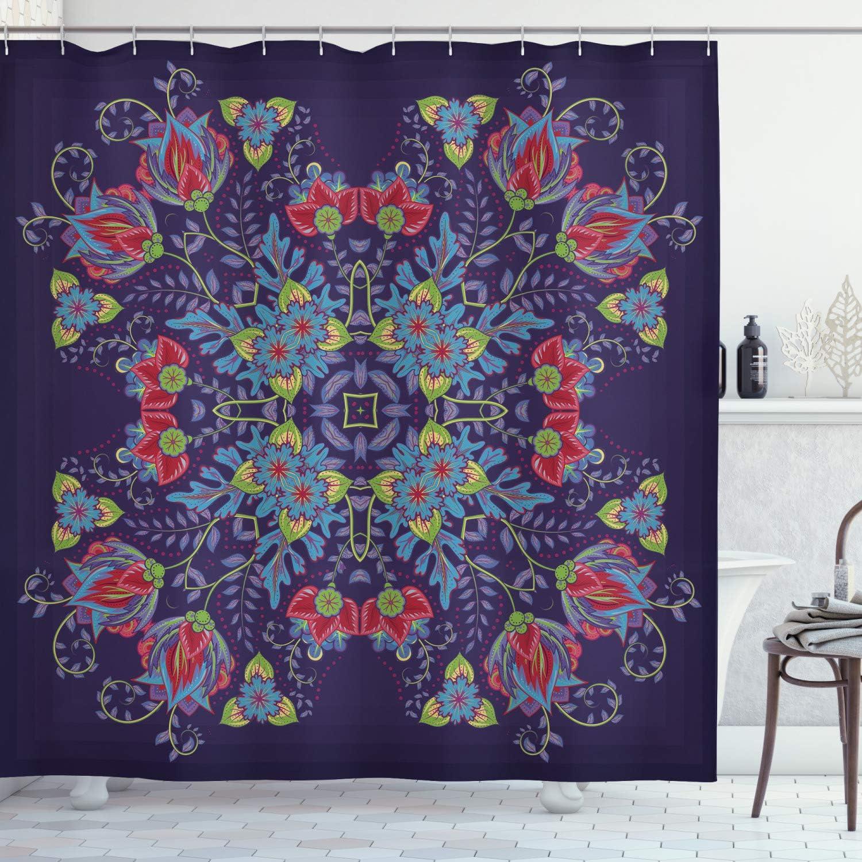 "Ambesonne Batik Shower Curtain, Bohemian Malaysian Floral Bouquet Corsage Royal Asian, Cloth Fabric Bathroom Decor Set with Hooks, 70"" Long, Quartz Sky"