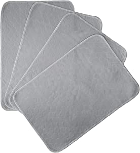 Kluein Pet Training Pads for Dogs | 4-Pack Grey | Non-Slip Absorbent | Washable Pads for Dogs Cat Rabbit Guinea Pig Small Pets, Travel Carrier, Dog Crate Mat, Food Mat