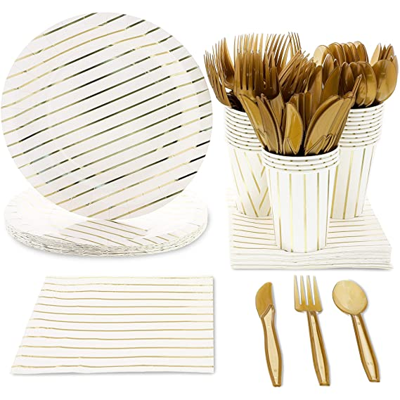 Juvale Gold Foil Stripes Party Supplies (Serves 24) Plates, Cups, Napkins, Knives, Spoons, Forks