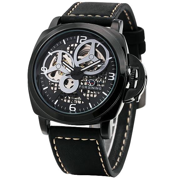 2017 lujo hombres negro automático relojes caluxe marca suave piel banda esqueleto mecánico relojes de pulsera: Amazon.es: Relojes