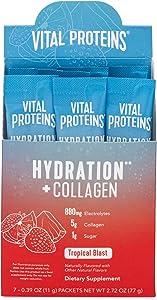 Vital Proteins Hydration Electrolyte Powder with Collagen - 1g Functional Sugar - 880mg Electrolytes - 100% DV Vitamin C (Tropical Blast, 7 Count)