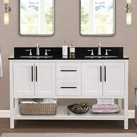 Amazon Com Sj Collection Nixie 60 In Transitional Style Double Sink Bathroom Vanity White Home Kitchen