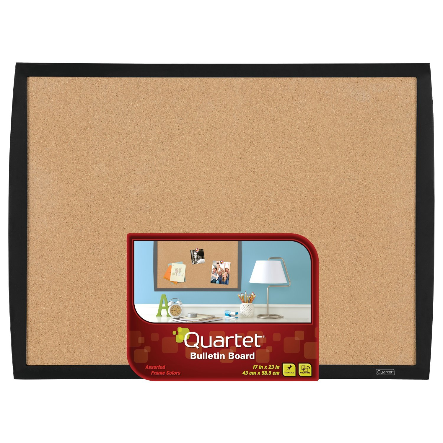 Quartet Cork Bulletin Board, 17''x23'', Black Frame (33271-BK)