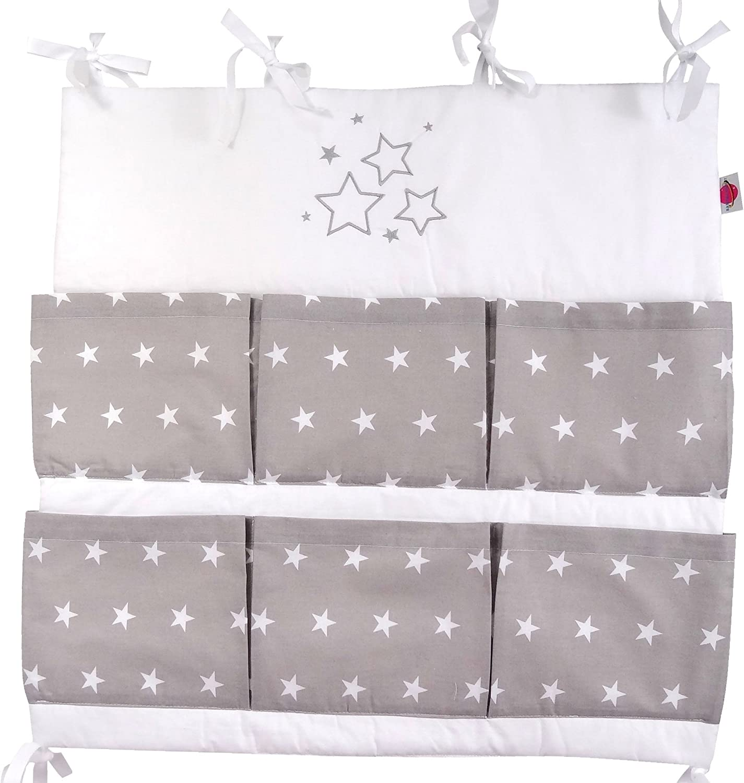 Utensilio gris con la aplicaci/ón bordado Babymajawelt/® Bolsa de cuna para cuna STARS//Estrellas organizador cuna Talla: 60x60cm