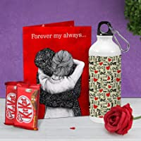 TIED RIBBONS Special Birthday Anniversary Friendship Day Combo for Her, Girls, Girlfriend, Wife Gift Pack ( Printed Sipper, Kitkat Chocolates, Faux Red Rose and Greeting Card)