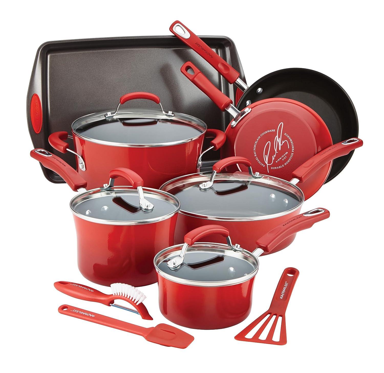 Amazon.com: Rachael Ray Hard Enamel Nonstick Cookware Set, 14-pc ...