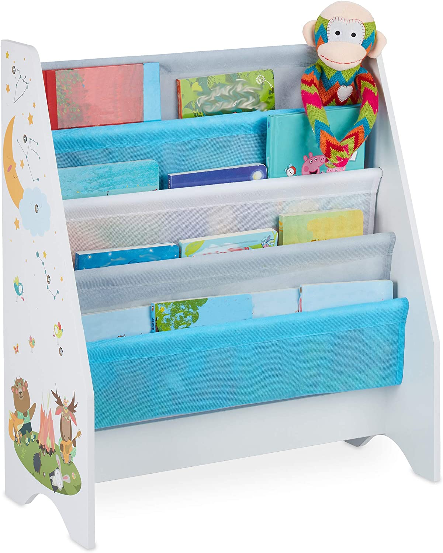 1 Unidad 4 Compartimentos Colgantes Multicolor 71 x 62 x 29 cm dise/ño Infantil Relaxdays Estanter/ía Libros Hoguera