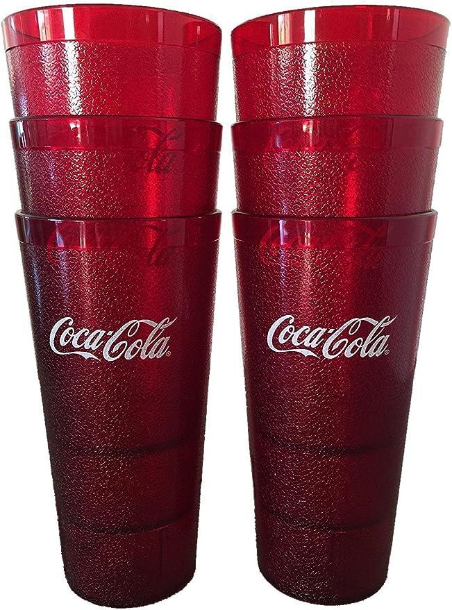 LOT OF 4~Coca Cola Coke /& Pepsi Vintage Restaurant Red Plastic Tumblers Cups