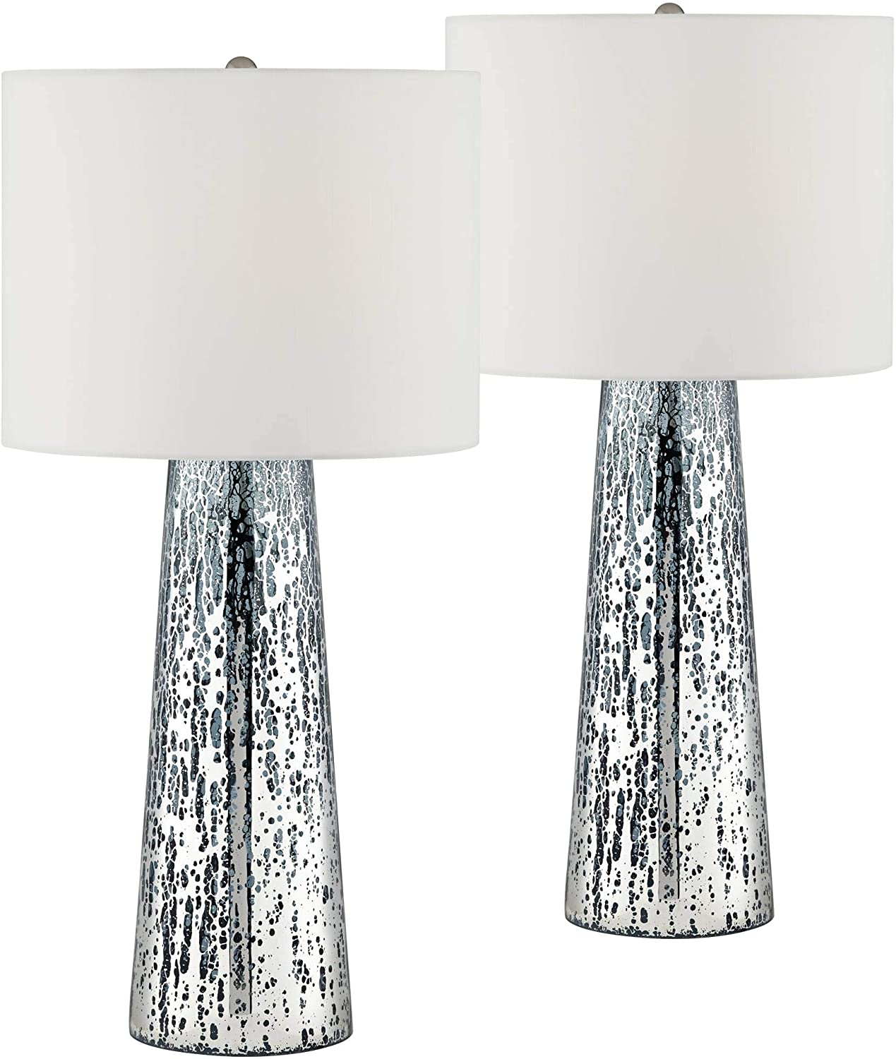 Marcus Coastal Table Lamps Set Of 2 Mercury Glass Tapered Column White Drum Shade For Living Room Family Bedroom 360 Lighting Amazon Com