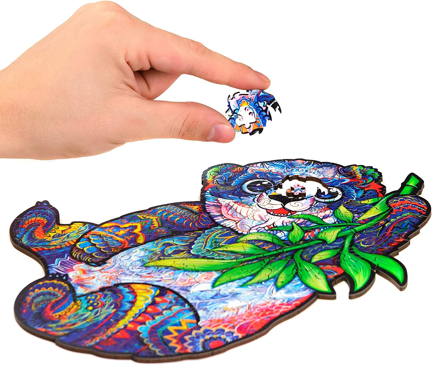 Best Gift for Adults and Kids 110 Pieces Unidragon Wooden Puzzle Jigsaw Unique Shape Jigsaw Pieces Serious Panda Small 9.4 x 7 inches
