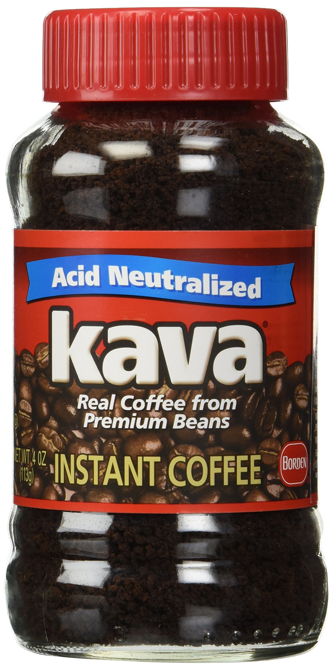 Kava Instant Coffee, Reduced Acid, 50% Less Acid per Cup, Real Coffee with Rich Full Bodied Taste, 4 oz Glass Jar (Pack of 3)