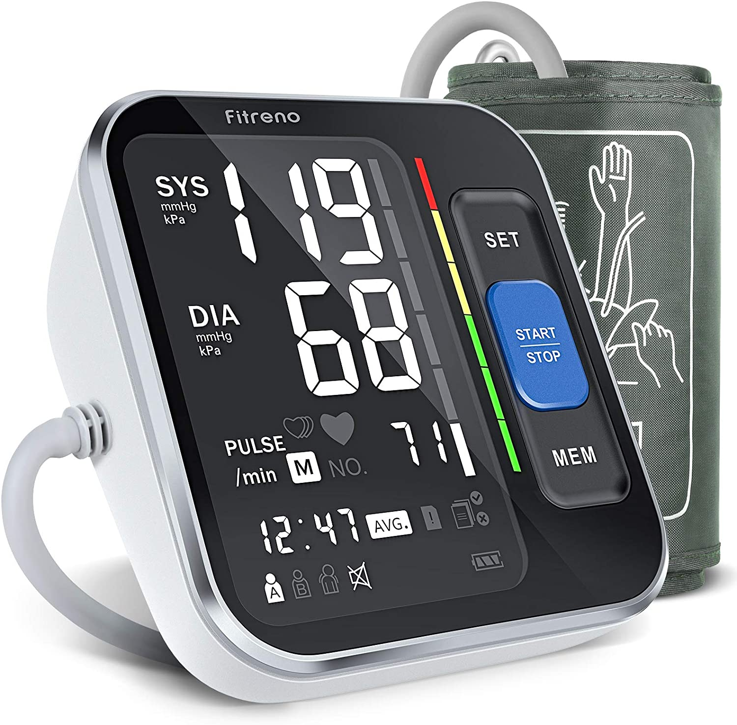 """Blood Pressure Monitor Upper Arm, [2021 New] Fitreno Blood Pressure Cuff 8.7""""-15.7"""" Monitor with Backlight Display & HR Detection, Digital BP Machine with Carrying Case for Adult & Pregnancy"""