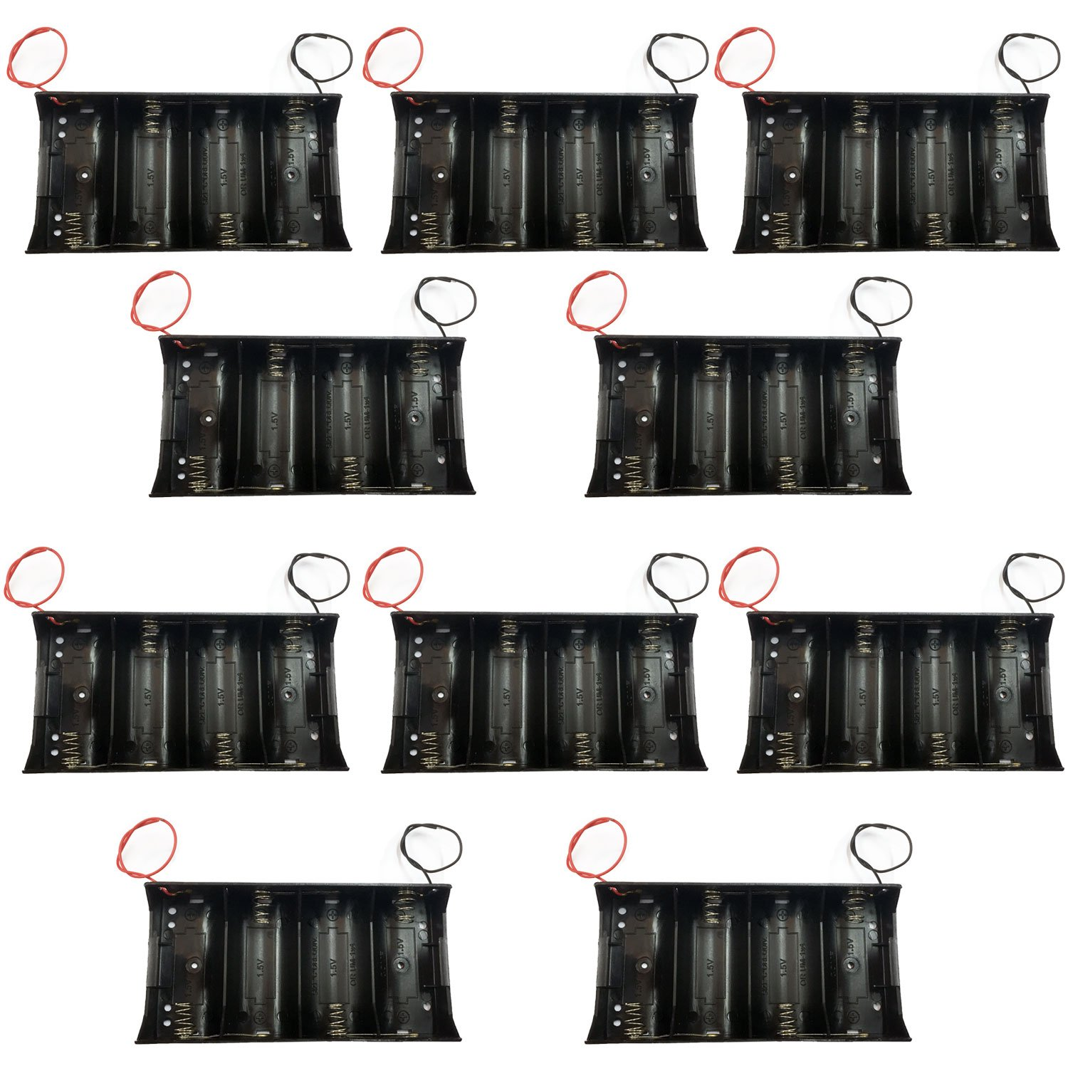 TrendBox Pack of 10pcs For 4xD Battery 1.5Vx4 6V Black Plastic Storage Case Holder Clip Type with 6'' Two Wire 22AWG Spring Lead Flat Tip Container DIY