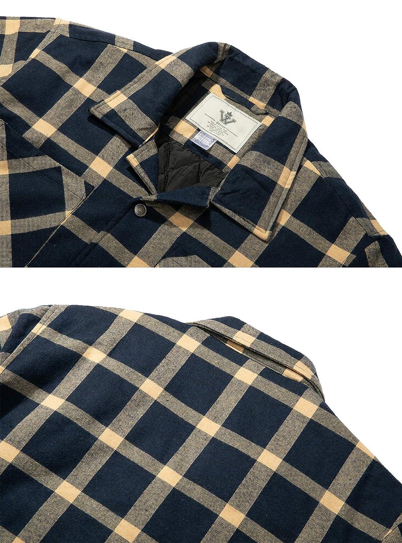 WenVen Hombre Camisa de Franela Camisa con Forro Manga Larga