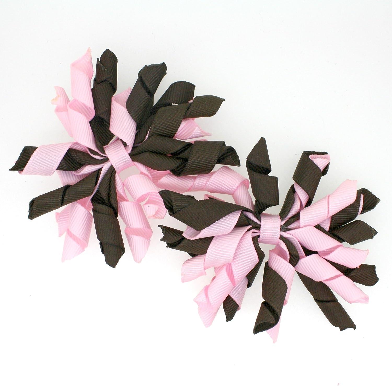 Girls Curly Grosgrain Ribbon Hairbows Mini Korker Hair Bow Clips Set of 2