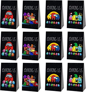 Among Us Party Supplies for Birthday Among Us Favor Gift Gag Idea for Birthday Gift Decor and Cookies.Candy Goodie Decorative for Friends and kid/'s 12 PCS Among Us Gift Bag Cookies Bag and 50 Among Us Stickers 62 PCS Total