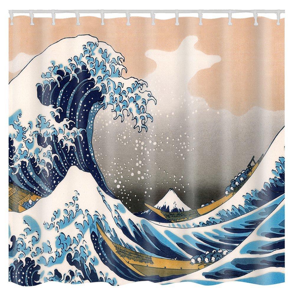 LITTHING Rideau de Douche Étanche de Salle de Bain 72× 72 Motif de Vague Trois Tridimensionnel Résistant à l'Humidité Facile à Nettoyer Imperméable 180 * 180cm Tissu en Polyester Style Kanagawa TINGZHI